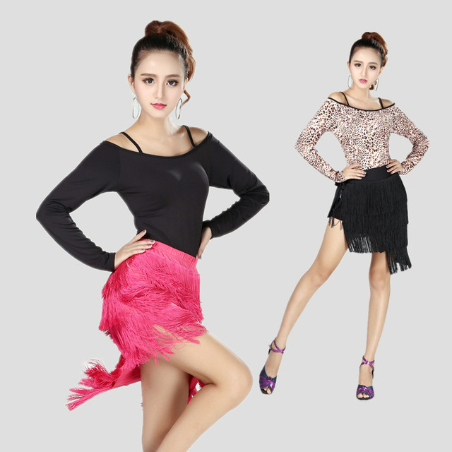 67e91edea2cb 2015 Sexy Plus Size Leopard Dress Dress Women Long Sleeve Latin Dance Dress  Female Tango Rumba Cha Cha Salsa Samba Rumba Costume