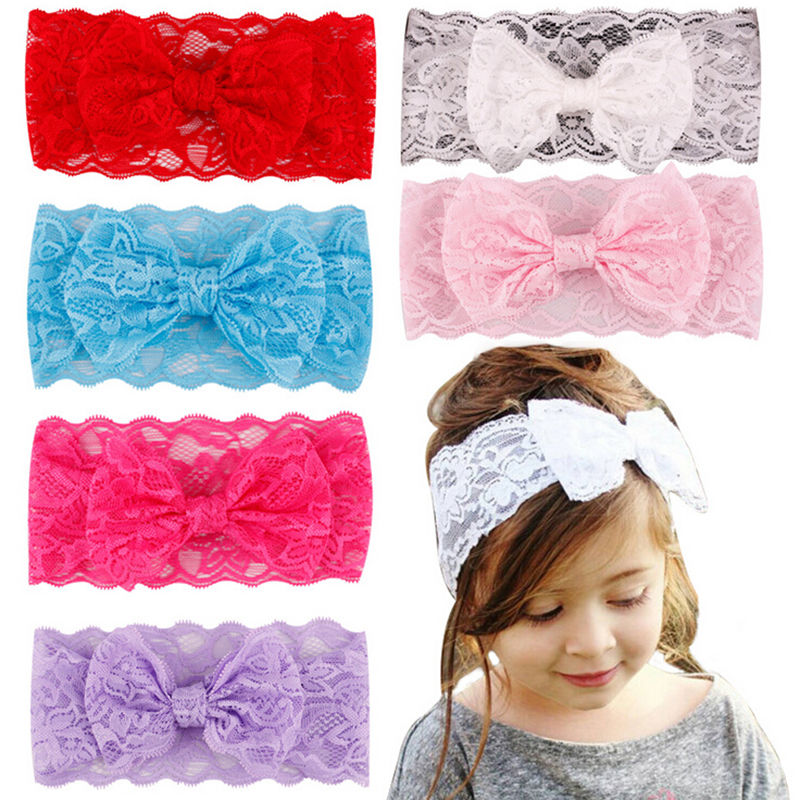7Pcs/lot Wholesale Kids Girl Baby Headband Toddler Lace Big Bow Hair Band Flower Hair Accessories Children Head Wrap Headwear