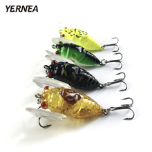 Yernea 4pcs/Lot 4 Colors Fishing Lures Insects Cicadas Bionic Roads Ports Tackle 3D Eyes Wobblers Artificial Bait