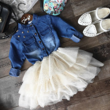 2016 Summer/Autumn Children Girls Jean Cloth+Bubble Dress Coat
