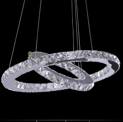 ФОТО SOLFART LIGHTING single ring 3 circle modern LED k9 crystal stainless steel dimmable pendant lights  lamp
