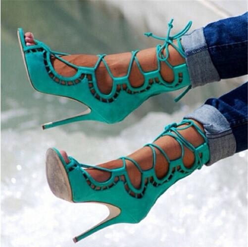 Sexy Cut Outs Ankle Cross Tied Lace Up Sandals Boots High Heels Gladiator Sandals Women Sandals 2016 Shoes Woman Sandalias