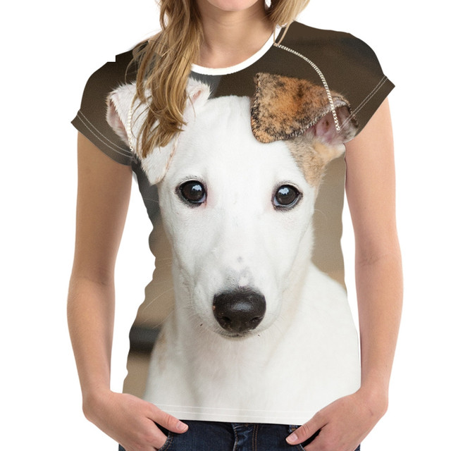 חמוד 3D בעלי החיים ויפט כלב הדפסת קיץ T חולצות לאישה כושר קצר שרוול למעלה טי בגדים לנשימה חולצות