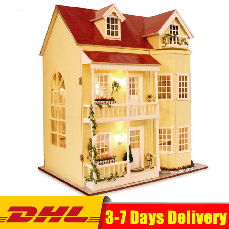 Cute Room Doll House Miniature DIY Dollhouse with Furnitures Wooden House Toys for Kids Christmas Gifts Toys House Model недорого