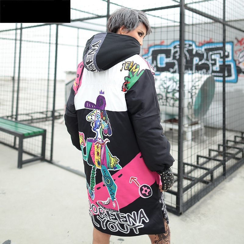 Women Winter Hip Hop Street Style Jacket Thick Warm Cartoon Print Parkas Female Wadded Cotton Hooded