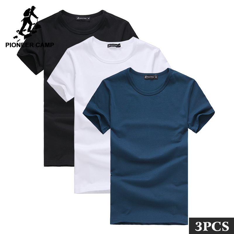 Pioneer Camp Pack of 3 promoting short sleeve   t  -  shirt   men brand clothing summer solid   t     shirt   male casual Tees