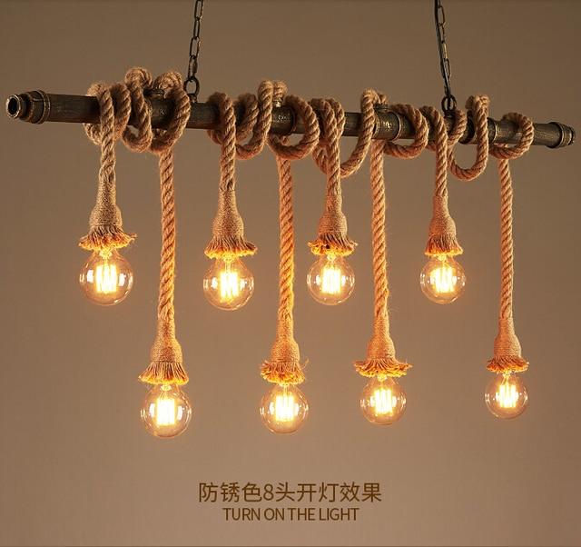 Retro Water Pipe Lamp Vintage Pendant Light Hemp Rope Loft ...
