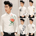 HOT NEW autumn Men flower long-sleeve shirt  floral white print  fashion slim shirt singer costumes dress Nightclub Clothing
