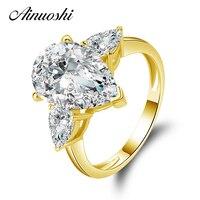 AINUOSHI 10 K массивная, желтая, Золотая коллекция TC обручальные кольца Груша Cut 4 ct Имитация бриллианта Aneis Feminino Женское Обручальное Кольцо