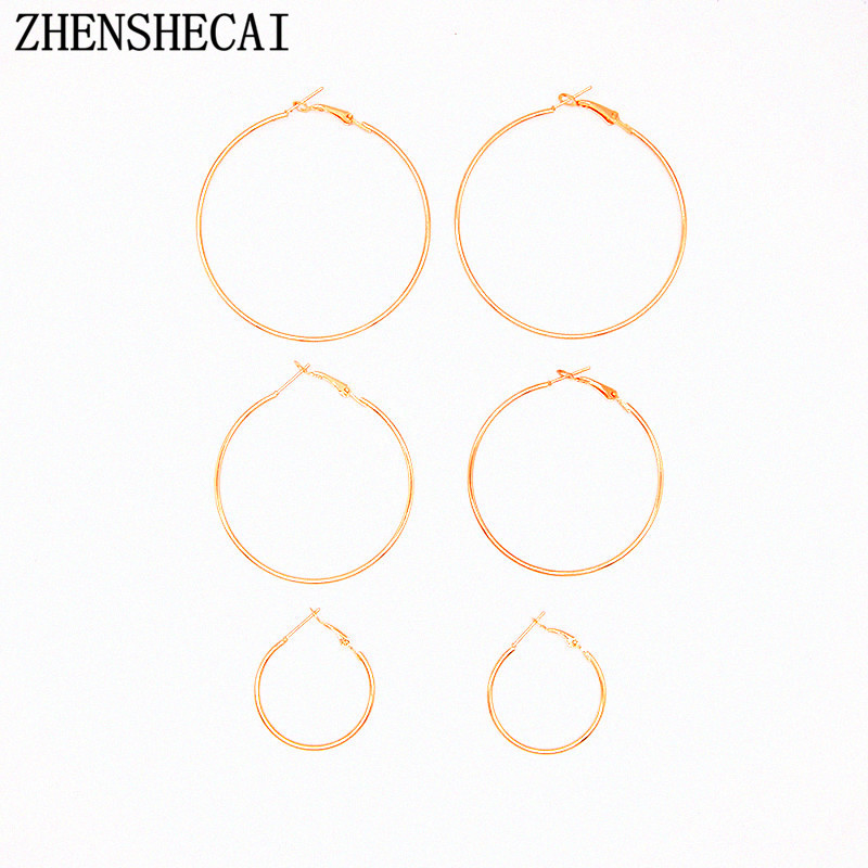 1 set=3 unit gold color round circle earring for women fashion jewelry geometric earring ...