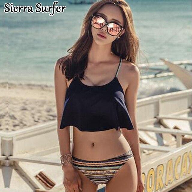 03d7b6034a Zwei Stück Badeanzug Für Frauen Mädchen Strand Tragen Damen 2  Brasilianische Badeanzüge Korea Volants Sexy Schwarz