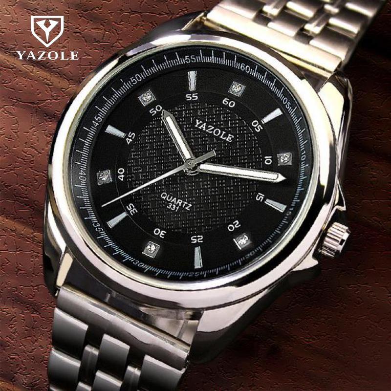 Luxury Classic Original YAZOLE Brand Full Stainless Steel Backlight Quartz Wristwatches Wrist Watch for Men Male 331 luxury original yazole brand genuine leather quartz dress wrist watch wristwatches for men women black white no 311