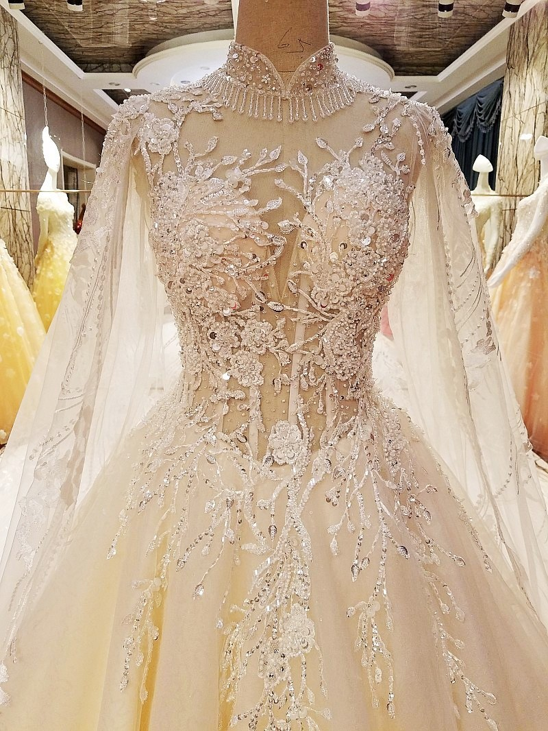 Robe De Mariage Luxury Lace Crystals Beaded Appliques White Wedding Dress Gown 2017 Bridal Wedding Gowns Vestido De Noiva