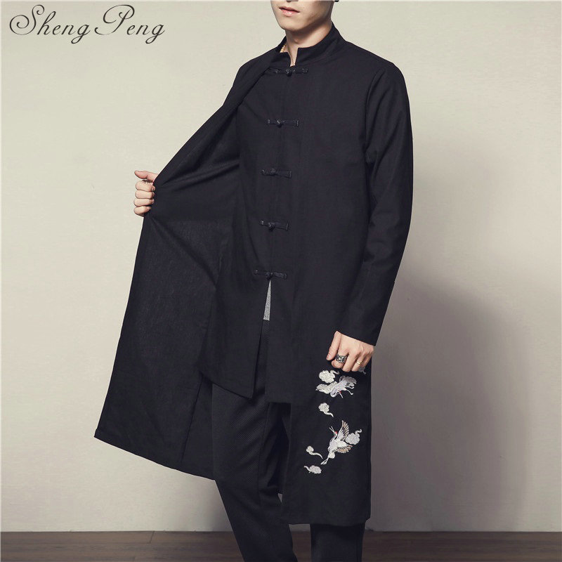 Chinese traditional men clothing oriental costumes traditional chinese clothing for men male clothes long mens coat CC133 Одежда