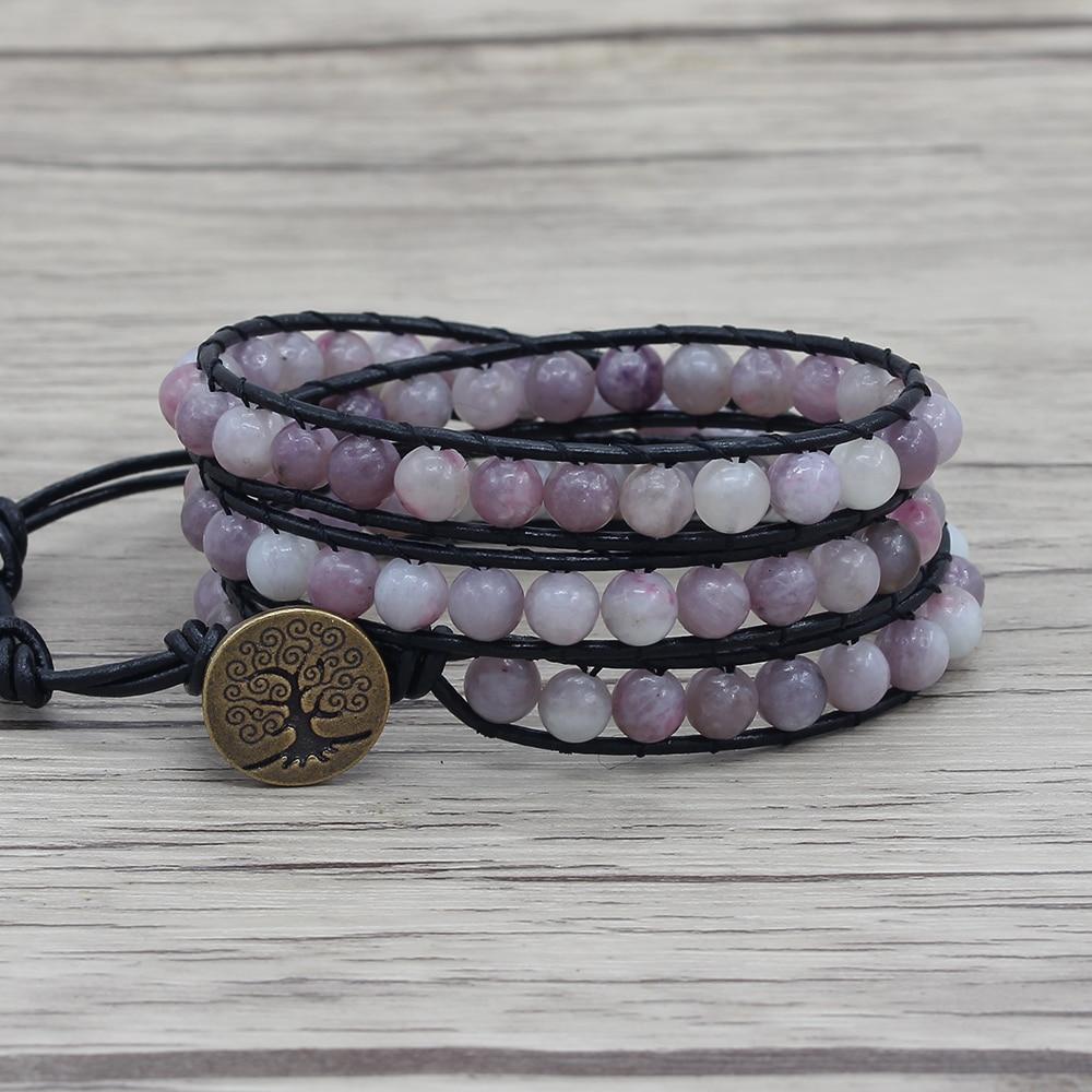 Purple beads wraps bracelet leather wrap bracelet boho beads yoga jewelry bohemian dropshipping purple lilac beads bracelet