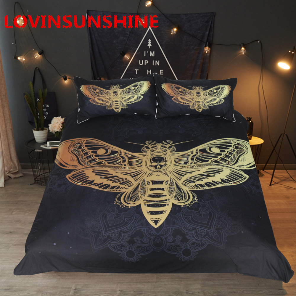 LOVINSUNSHINE Death Moth Bedding Set Skull Duvet Cover Set Black and Golden Home Textiles for Adults Butterfly Boho Bedclothes