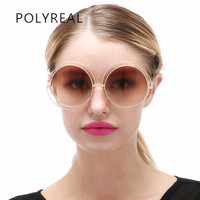 POLYREAL Oversized Round Sunglasses Women Fashion Vintage Big Size Circle Ocean Mirror Sun Glasses Lady Female