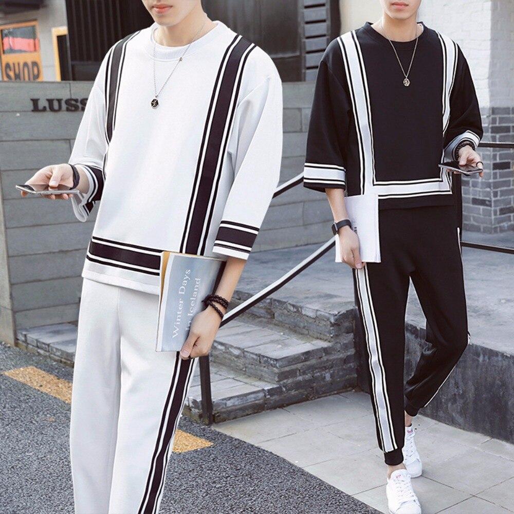 2018 Automne Hiver Casual Noir Blanc Hommes Vêtements Ensemble O Cou trois Manches Trimestre De Mode Costumes Lâche Mâle Tops Pantalon Plus La taille