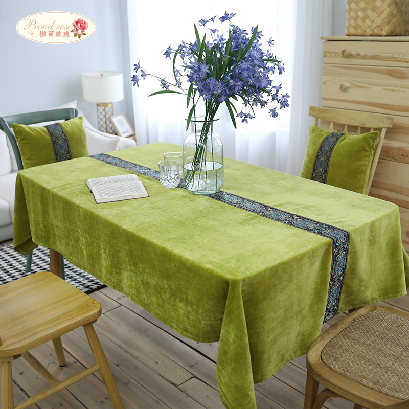 Proud Rose Flannelette Tablecloth Table Runner Thickened Embroidered Table Cloth Table Mat Nordic Tablecloths Customized
