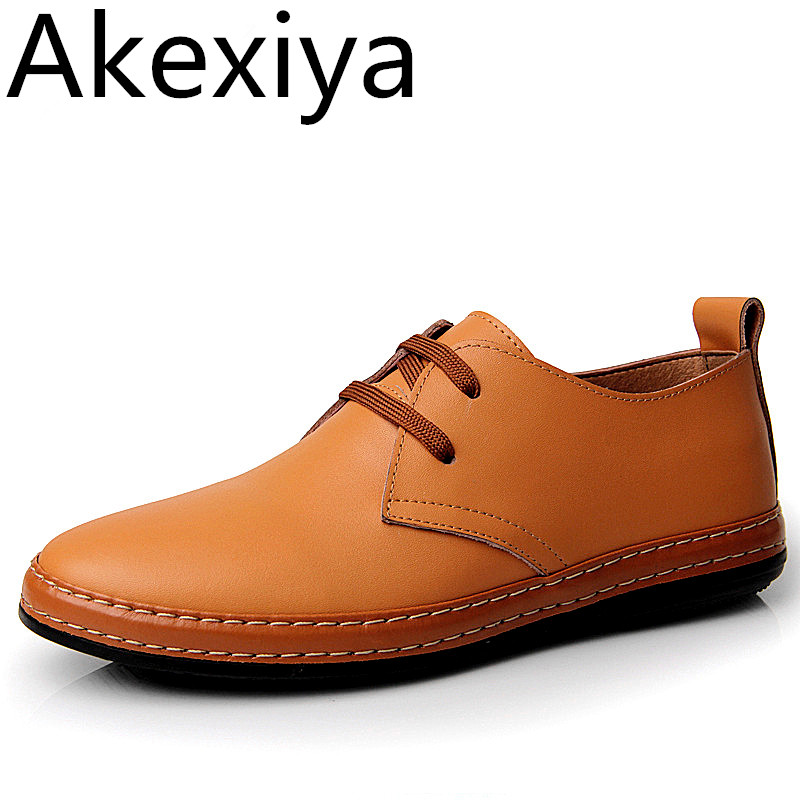 Akexiya 2017 Fashion Genuine Leather Men Shoes Original Brand Summer Flats Casual Breathable Oxfords Shoes Men masculino Sapatos caltus casual shoes men breathable new fashion oxfords men flats genuine leather spring autumn breathable driving shoes aa20518