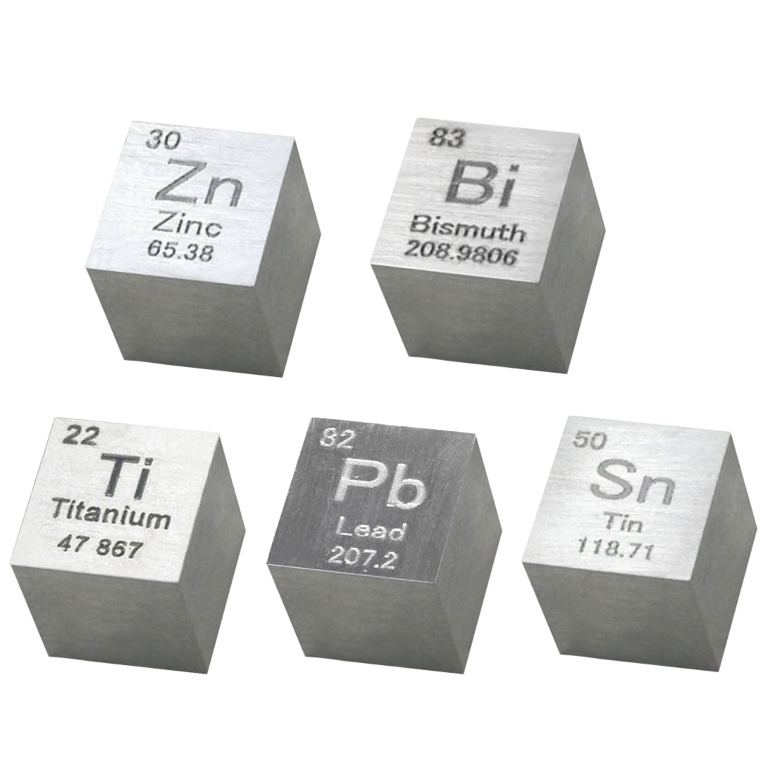 10 X 10 X 10mm Wiredrawing Stannum Bismuth Zinc Plumbum Titanium Cube Set Periodic Table  Chemical Elements Collection
