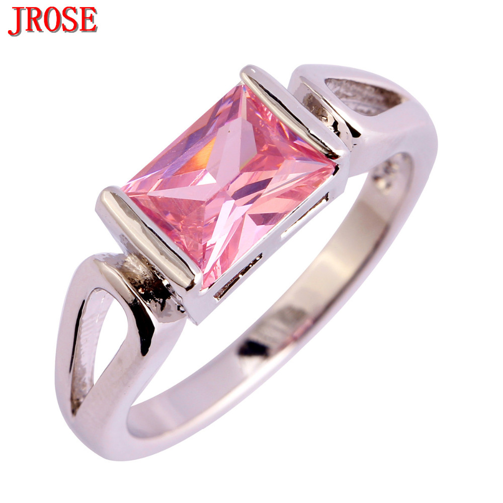 JROSE Jewelry Solitaire Style Love Wedding Ring Pink CZ SIlver Color ...