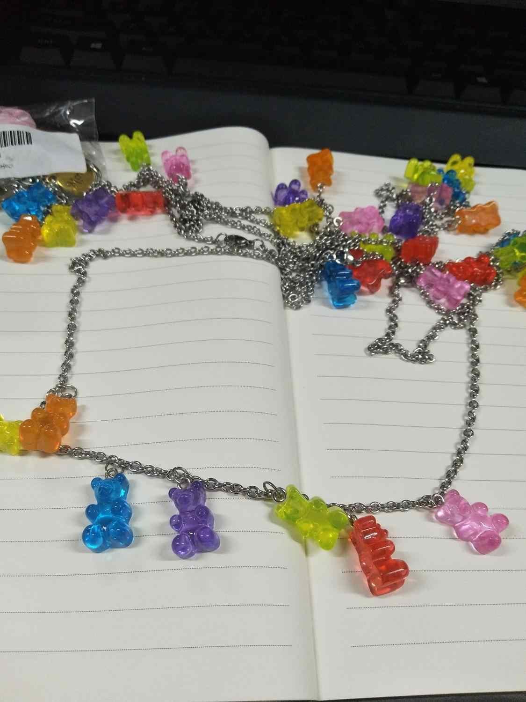 Handmade 7 สีน่ารัก Judy การ์ตูนหมีสร้อยคอสแตนเลส, candy สีจี้สำหรับสตรีสาวทุกวันเครื่องประดับของขวัญ Party