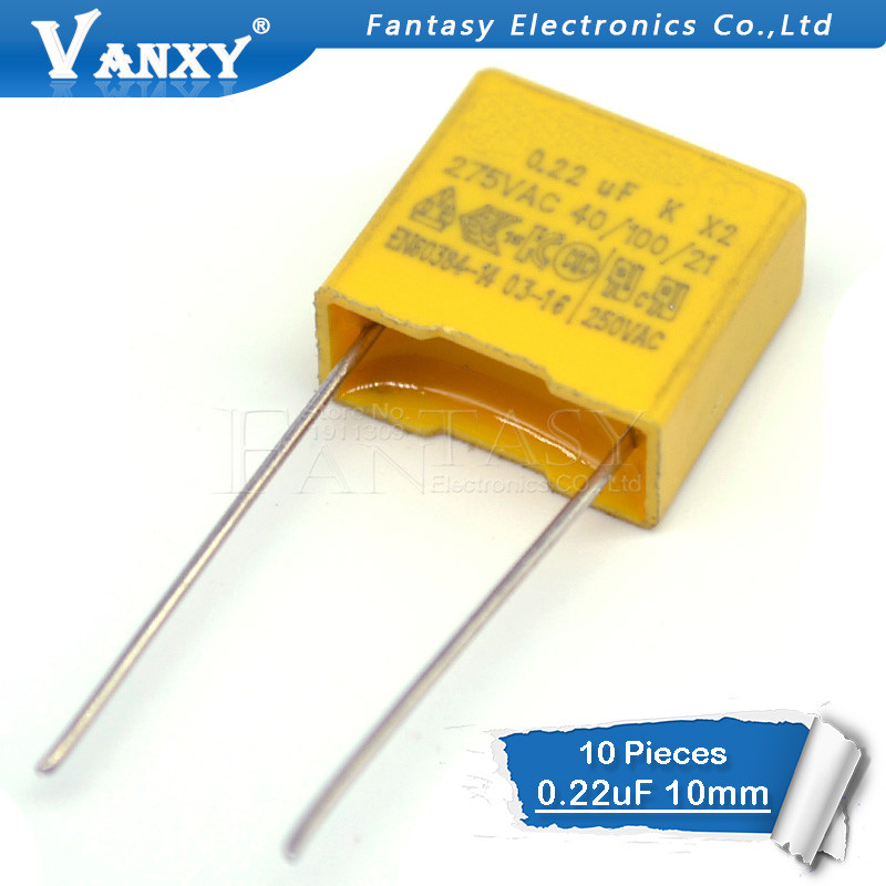 10pcs 220nF Capacitor X2 Capacitor 275VAC Pitch 275V 10mm X2 Polypropylene Film Capacitor 0.22uF