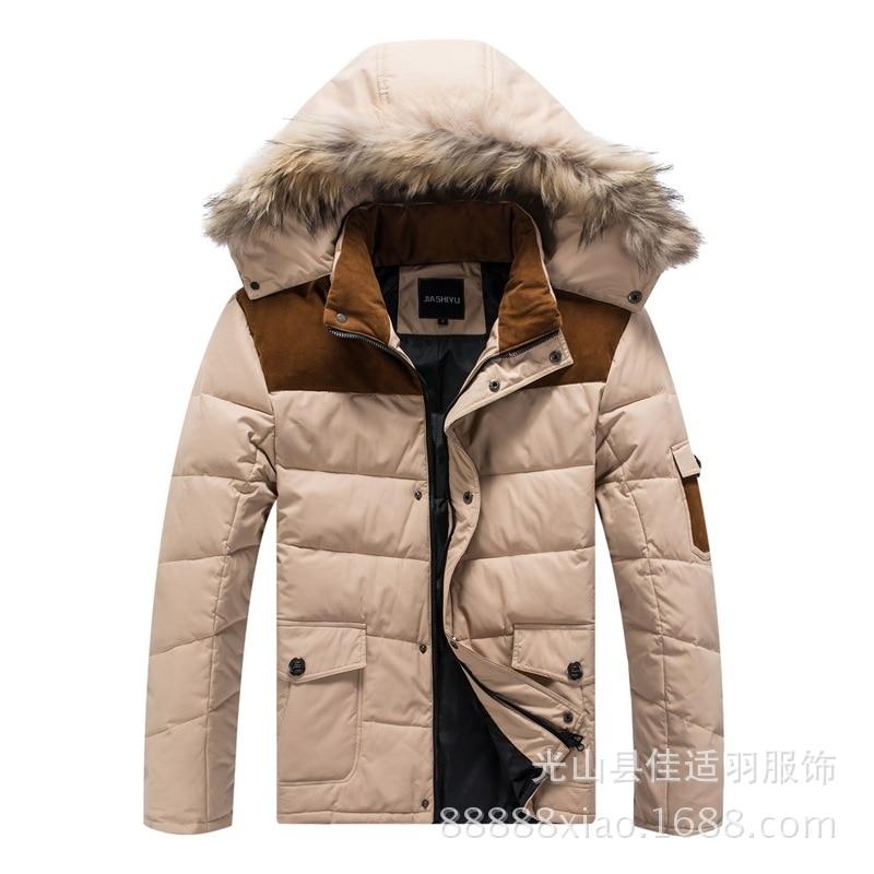 2016 winter parka men Mens down coat winter down jacket White duck down furry collar