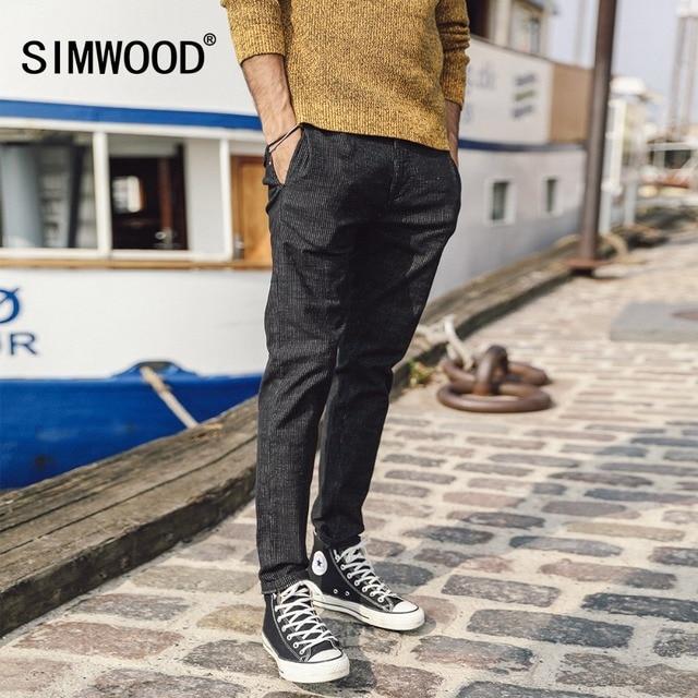 SIMWOOD 2019 Spring Autumn Men Brand Pants Fashion Vertical Striped Slim Fit Long Trousers Plus Size Male Causal Pants 180438