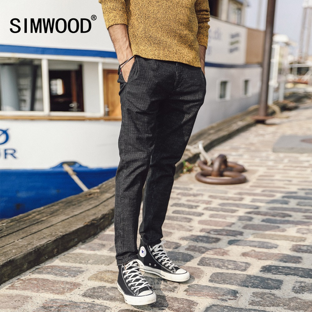 SIMWOOD 2019 Autumn Autumn Men Brand Pants Fashion Vertical Striped Slim Fit Long Trousers Plus Size Male Causal Pants 180438