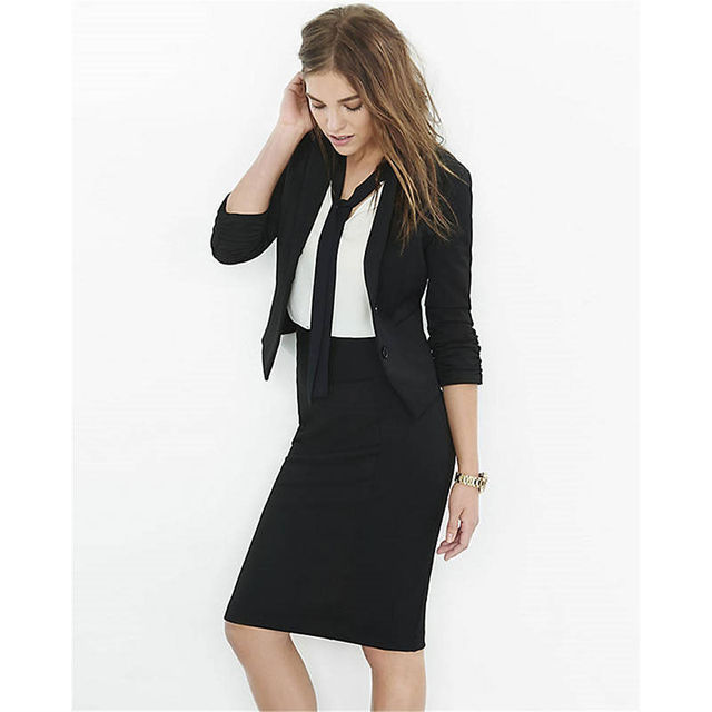 7db17173e8d1 Black Ladies Skirt Suits Formal Business Work Wear Trouser Suits for Women  Suits Office Outfits 347