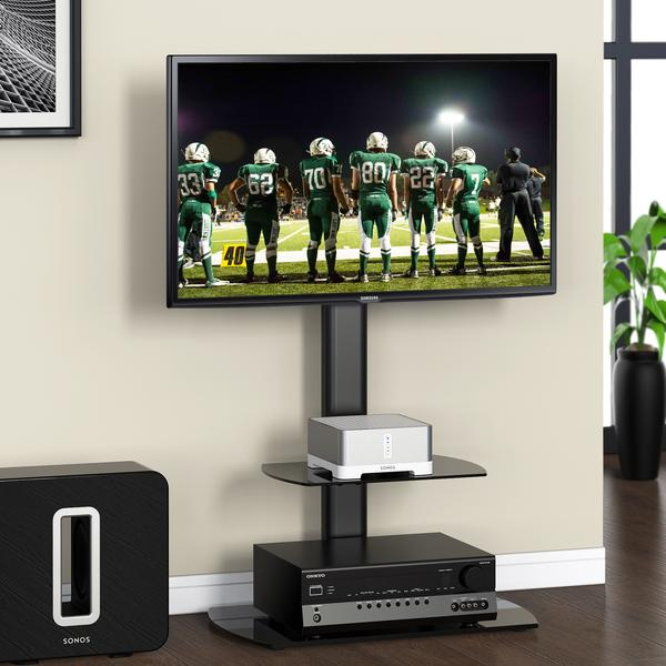 Fitueyes Swivel TV Floor Stand with Mount and Two Shelves for 32 to 50 Inch and height adjustment TV TT206501GB