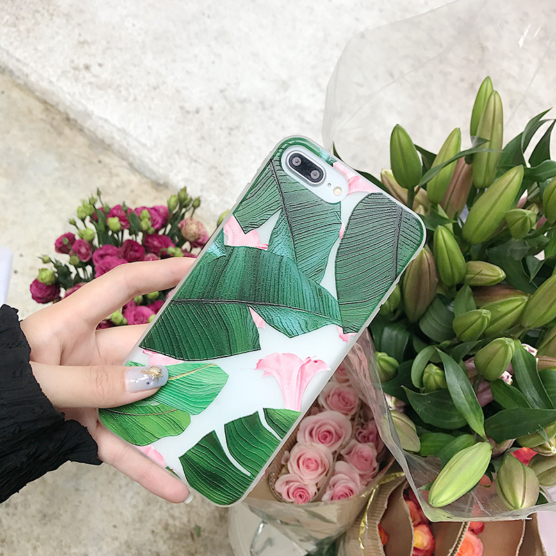 ProElite Green Leaf Flower Full Protection Cover for iPhone X 7 7 Plus 8 8 Plus TPU Matte Case for iPhone 6S 6 Plus Vintage Capa