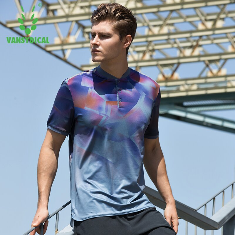 2018 Vansydical Sports Tops Men Printed Run Polo Shirts Short Sleeve Quick Dry Outdoor Jogging Workout Tennis Fitness Sportswear