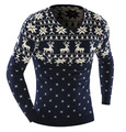 Sweater Men 2016 Casual Sweater Male V-Neck Deer Printing Slim Fit Knitting Mens Fashion leisure Sweaters Man Pullover Men