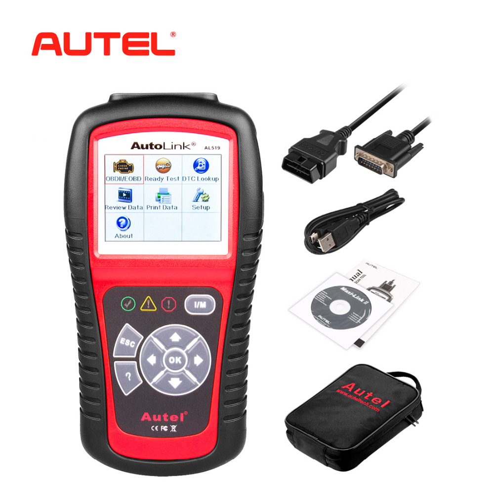 Autel AutoLink AL519 Auto Diagnostic Tool Scanner Car Fault Code Reader OBD2 CAN Code Reader Scanner Upgrade version of MS509 newest obdmate om520 lcd obd2 eodb car diagnostic scanner obdii interface om520 obd 2 ii auto diagnostic tool scanner