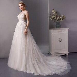 Image 3 - SL 6077 derin boyun çizgisi gerçek fiyat dantel plaj düğün elbisesi 2019 sposa uzun tren tül vestido boho düğün gelin kıyafeti artı boyutu