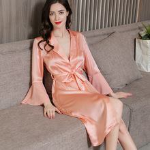 2019 Latest Long-Sleeve Real Silk Sleeping Robes Female Spring Summer 100% SILK Sexy Sleepwear Solid Color Woman Bathrobes P9952