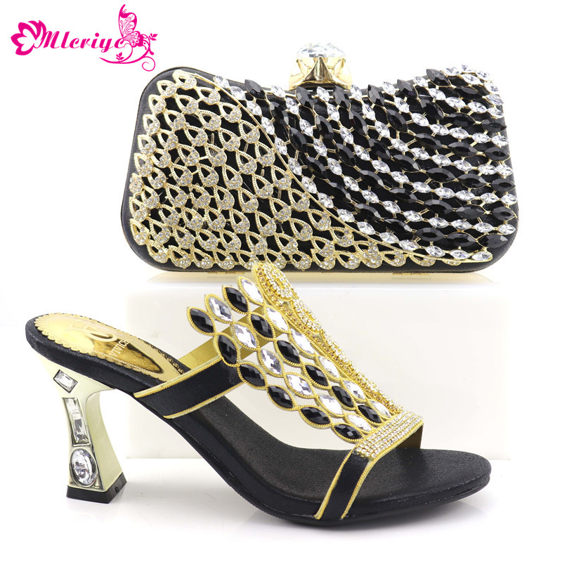 Nigerian Party Shoe and Bag Sets Decorated with Rhinestone African Wedding Shoe and Bag Set Party black color Shoes and Bag rhinestone decorated shoulder bag