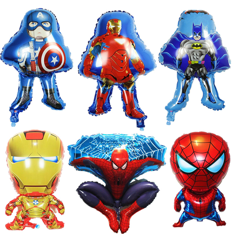 1PC Cartoon Figure Balloon Spider Bat Iron Man Inflatable Foil Balloons For Baby Shower Party Decorations Kids Birthday Gifts