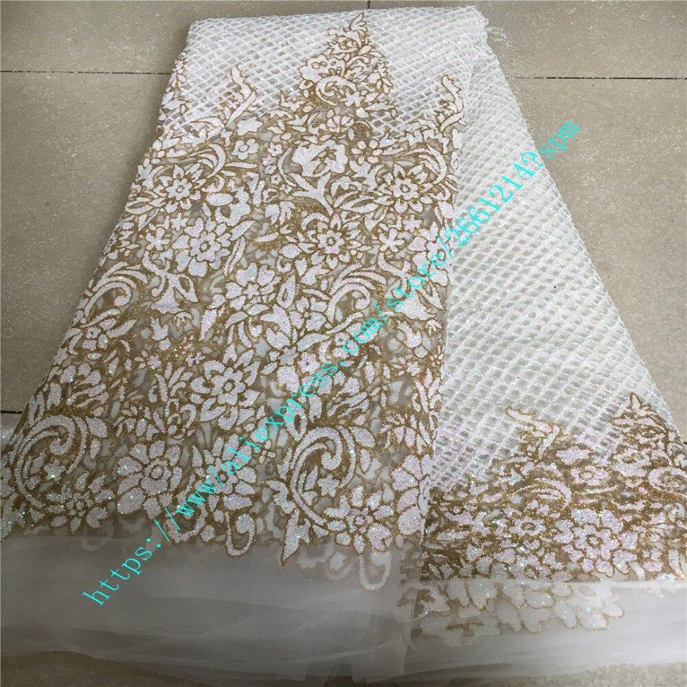 . Nieuwe mode Zwitserse bruiloft tule kant Afrikaanse borduurwerk franse netto kant stof met gelijmd glitter kant stof voor dressing-in Stof van Huis & Tuin op  Groep 1