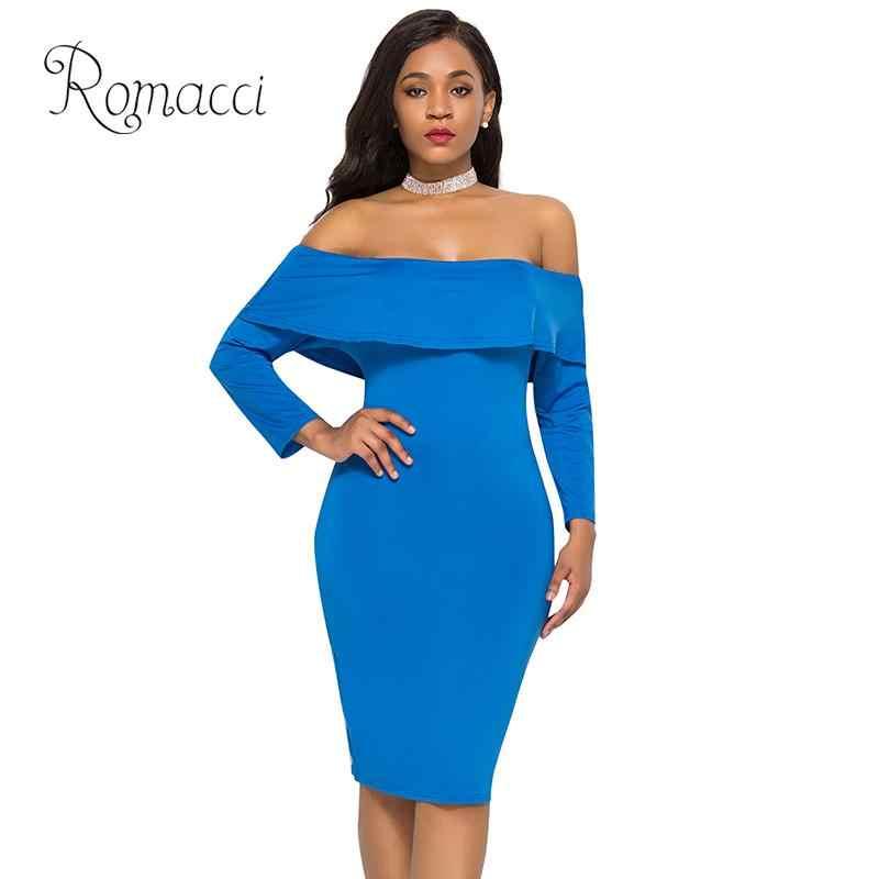 Romacci сексуальное платье с открытыми плечами женское однотонное осеннее платье элегантное платье с оборками длинный рукав ночной клуб вечерние облегающие платья голубого цвета