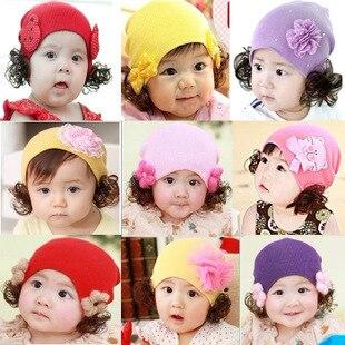 Beanies Korean spring autumn and winter warm cartoon butterfly flower girl baby child wig headgear knit wool hat cap