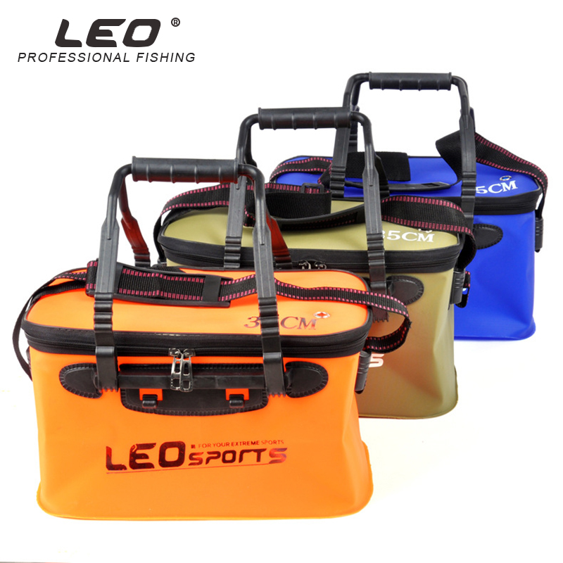 Leo 30 EVA Balde Dobrável Portátil Para Peixes de Água/35 cm Com Alça À Prova de Fugas de Artes de Pesca Ao Ar Livre Azul/ laranja/Verde Enfrentar Saco