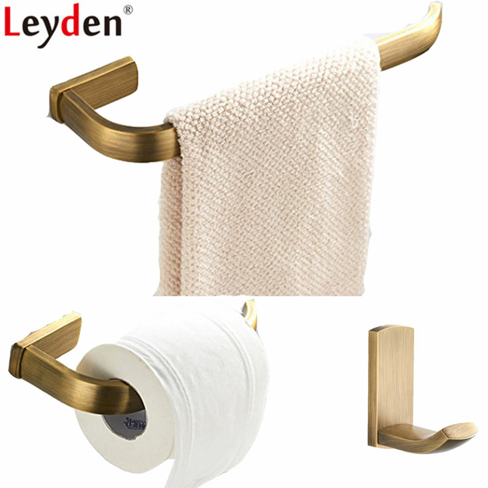 Leyden 3pcs Bathroom Accesories Set Wall Mounted Antique Brass Towel Ring Holder Toilet Paper Holder Tissue