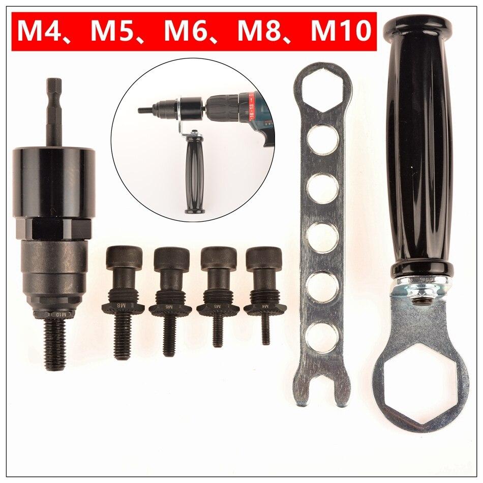 M4-M5-M6-M8-M10 Elétrica Arma Porca Rebite De Aço e Alu Adaptador Rebitador Porca Inserir Furadeira sem fio Da Bateria Adaptador Ferramentas de Rebitagem