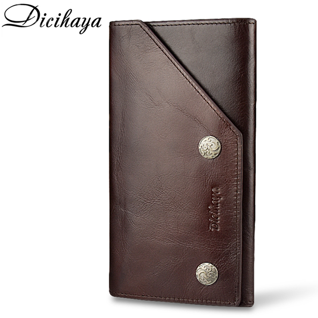 eae1df9f6955 DICIHAYA Classic Soft Leather Purse Men Wallets European American Crazy  Horse Leather Wallet Card Holder Man