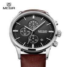 MEGIR sıcak moda deri kuvars İzle adam aydınlık chronograph saatler erkek casual analog saatler erkekler takvim saat saat