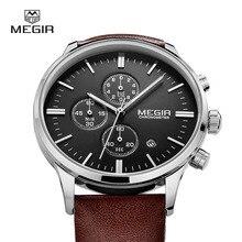 MEGIR caliente de cuero de moda reloj de cuarzo hombre luminoso cronógrafo reloj hombre casual analógico relojes hombres calendario horas